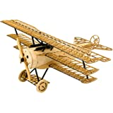3D Wooden Puzzles Airplane DIY Fokker DR1 Triplane Model Kit, Laser Cut Balsa Wood Plane Kits to Build for Adults, WW1 Wooden