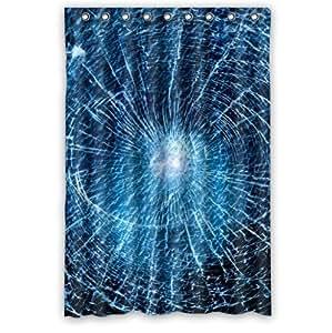 Best Custom Blue Glass Broken Pattern Design,Broken Glass Custom 100% Polyester Waterproof Shower Curtain 48 x 72 by icecream design