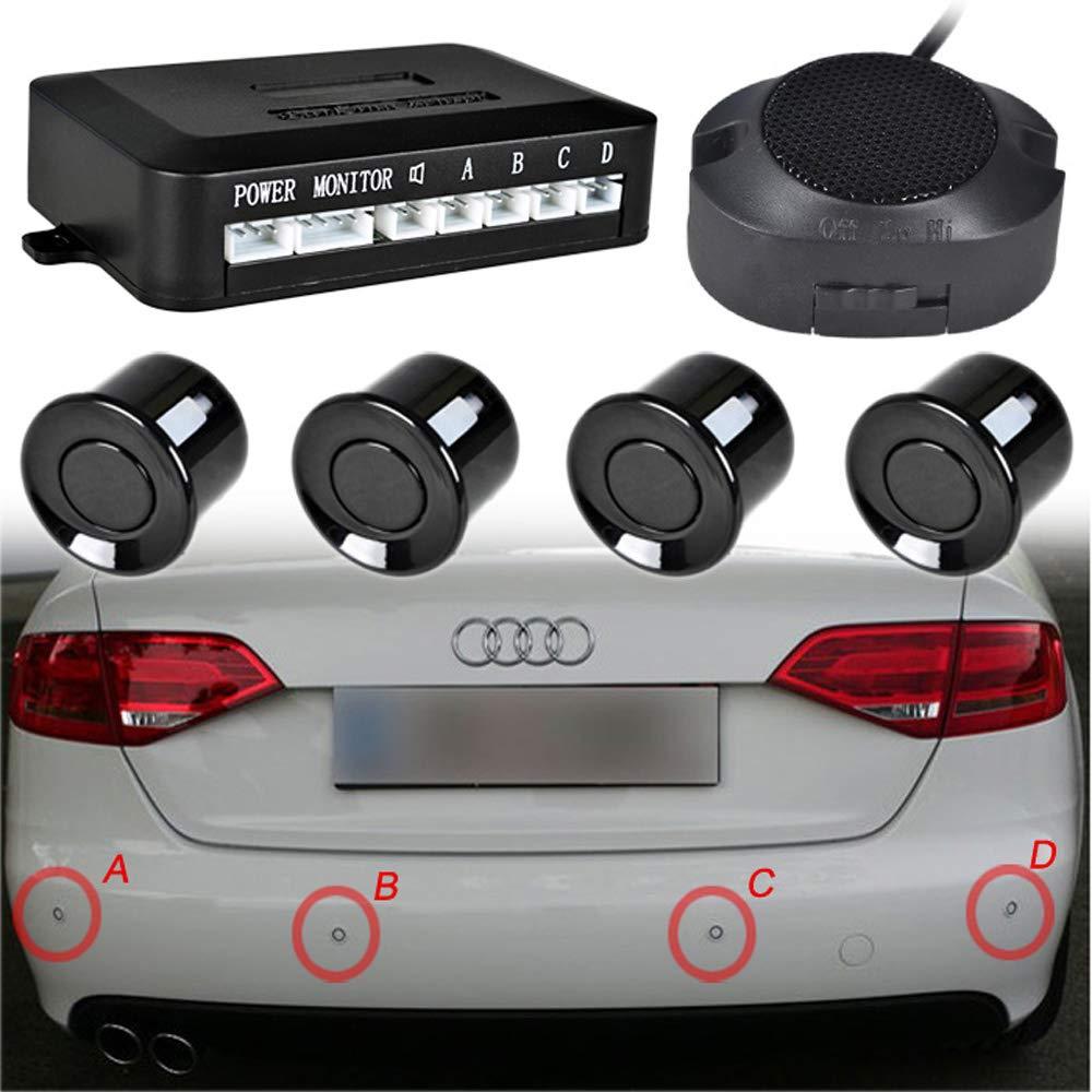 4 Sensores a Prueba de Agua ieGeek Sistema de Radar de Estacionamiento de Respaldo Inverso Pitidos Negro Distancia de Detecci/ón 30-250cm.
