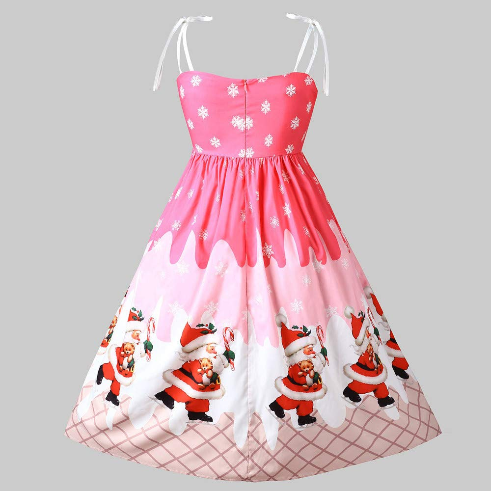 ANJUNIE Christmas Vintage Gown Women Sleeveless Lace Patchwork Skirt Printing Party Dress