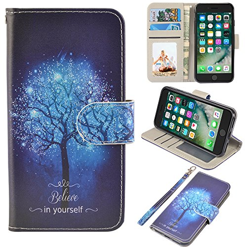 UrSpeedtekLive iPhone 7/iPhone 8 Wallet Case, Premium PU Leather Flip Case Cover w/Card Slots & Kickstand for Apple iPhone 7/iPhone 8, Believe in Yourself ()
