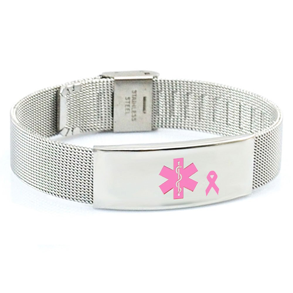Breast Cancer No Needle or BP on LEFT Arm Medical ID Alert Bracelet Adjustable Stainless Steel Mesh