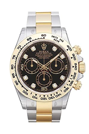 Amazon Com Rolex Cosmograph Daytona Black Diamond Dial Steel 18k