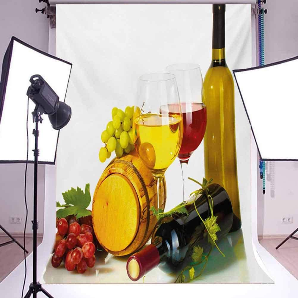 Wine 6.5x10 FT Photo Backdrops,Composition with Small Barrel Two Types of Grapes Drinks Beverage Product Background for Baby Shower Birthday Wedding Bridal Shower Party Decoration Photo Studio