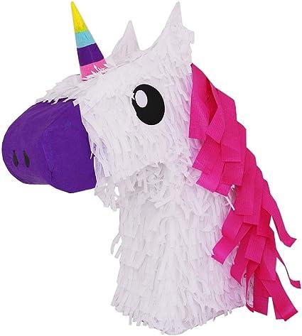 Amazon.com: Piñata de Unicornio Blanco w/rosa de pelo ...