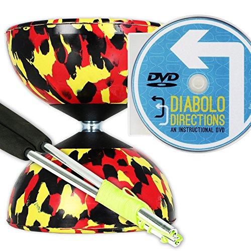- Mr B Harlequin Diabolo, Metal Diablo Sticks & Diabolo Directions Instructional DVD! (Black, Yellow & Red)
