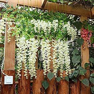 Kuqqi 3.6 Feet Artificial Silk Wisteria Vine Ratta Silk Hanging Flower Wedding Decor,6 Pieces,(White) 2