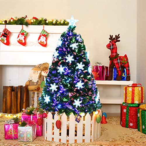 Goplus 4FT Artificial Christmas Tree Pre-Lit Fiber Optic Premium Spruce Hinged Tree W/UL Certified Multicolored LED Lights & Metal ()