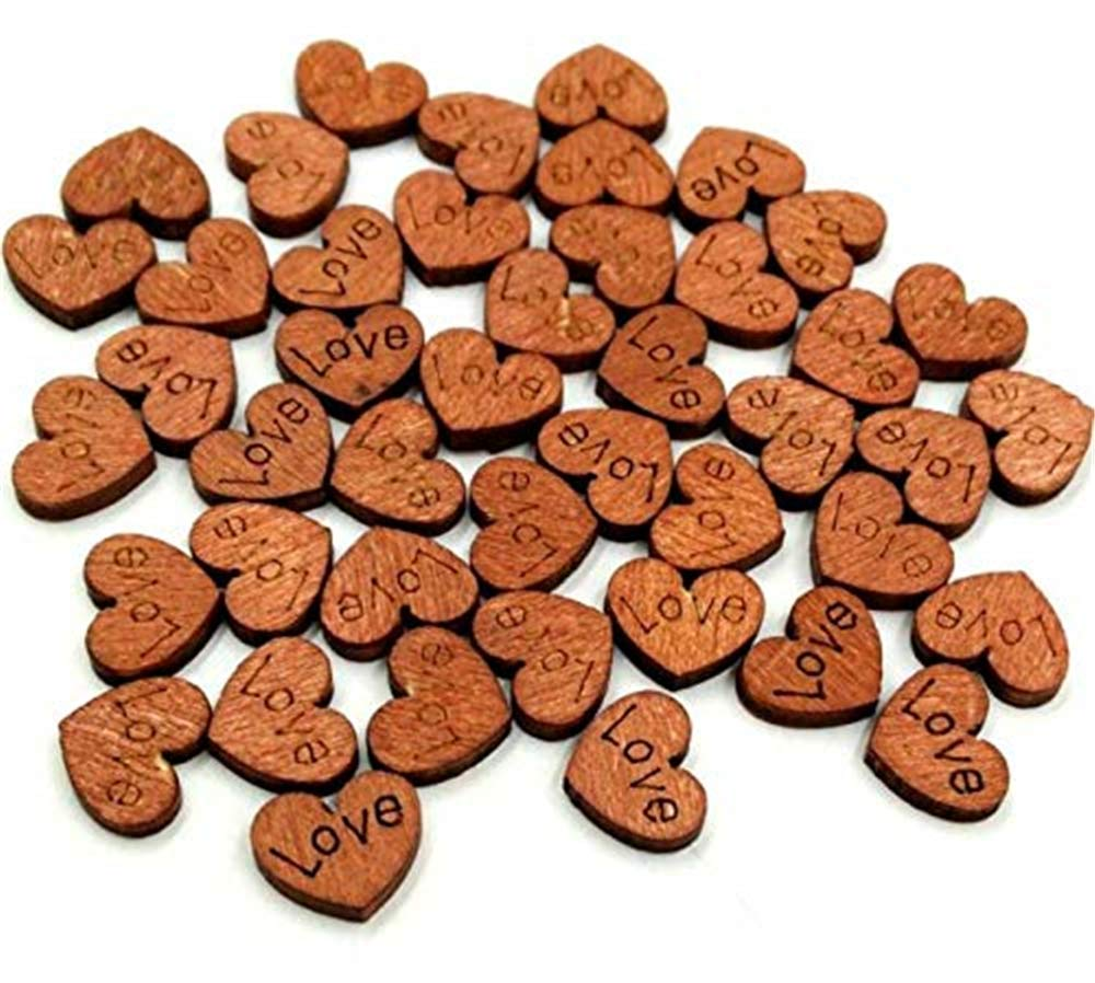 Weahre 200pcs Wooden Love Heart Slices Art Crafts Pieces for Wedding DIY Projects Card Making Decoration Party
