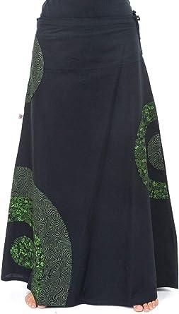 FANTAZIA Jupe Longue Romantique psychedelique Green Heroine Coton Epais Taille S au XXXL 100% Coton Noir Baba Cool Roots Confortable &