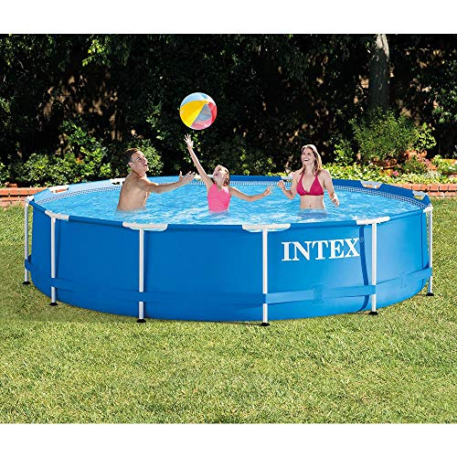 - Intex 12 Foot x 30 Inches Metal Frame 1718 Gallon Capacity Above Ground Pool
