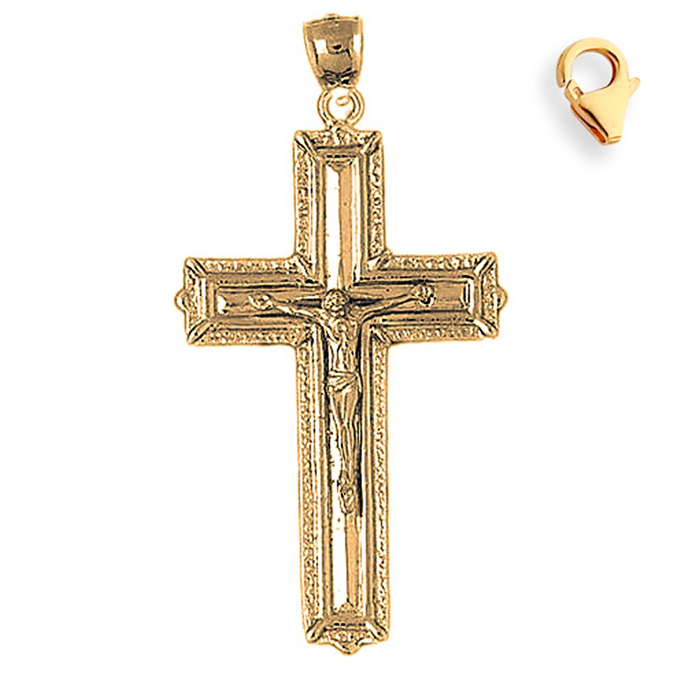 Silver Yellow Plated Crucifix Charm 58mm
