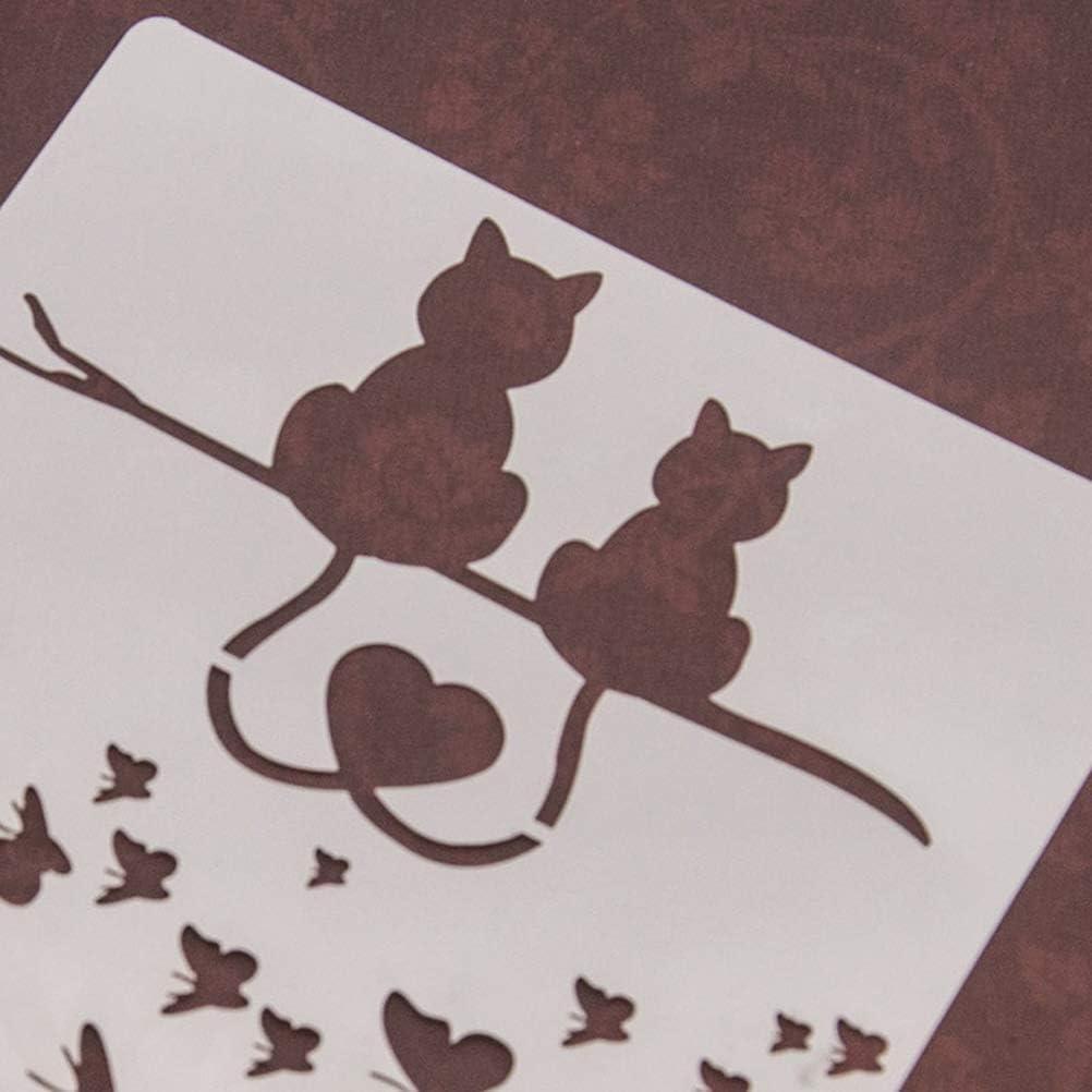 tarjeta de bricolaje SUPVOX Plantilla de pintura de gatos para pared pintura para scrapbooking