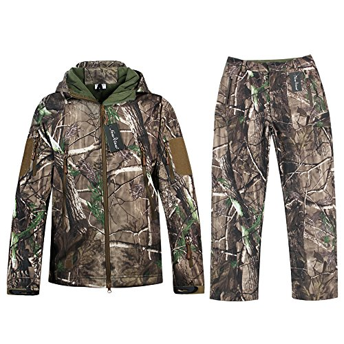 Camo Jacket New View Waterproof Hunting Camouflage Hoodie Military Jacketor and Pants for Unisex XX-Large