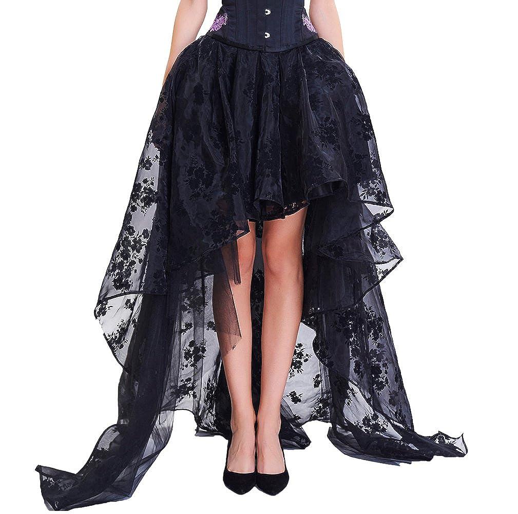 COSWE Black Skirt Irregular Steampunk Cocktail Party Gothic Skirts For Women 27-YN6B-47GX