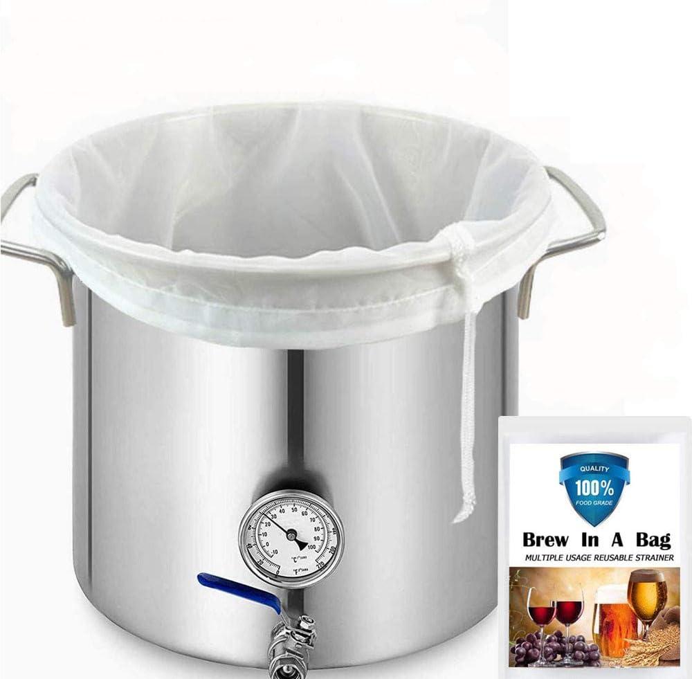 Brew-Bags Reusable Mesh-Bag Drawstring-Straining Nylon - 3 Pack 150 Micron Nylon Straining Brew Bag for Beer Wine Making Food Grade Filter Large Size 26.5