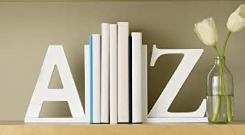 Design Ideas - A To Z Bookends, White