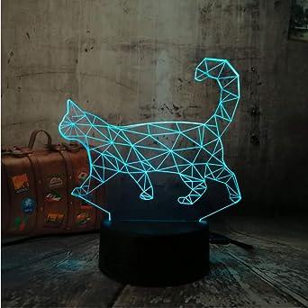 3D Lazy Cat Walking Cat 7 colores cambiables LED Lámpara de luz ...