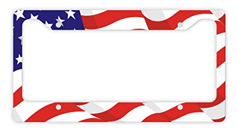 Amazoncom Usa Gifts Waving American Flag License Plate Frame Red