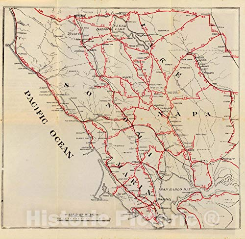 Historic Map | Guide Book, Sonoma, Marin, Lake, and Napa Counties. 1896 | Vintage Wall Art | 16in x 16in - Lake County Wall Map
