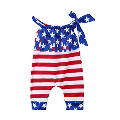 Toddler Infant Baby Girl Boy 4th of July Bodysuit American Flag Sleeveless  Romper Jumpsuit Outfit Clothes bb442a870