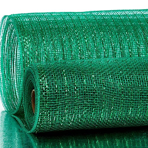 21 X 10 Yards Emerald Deco Mesh W//Metallic Stripes