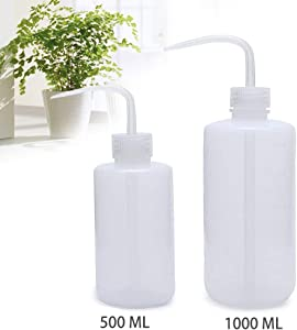 Wash Bottle, OAMCEG 2 Pack LDPE Solvent Squeeze Bottles, Watering Can, Plastic Squirt Bottle for Chemistry, Industry, Lab & Gardening, 500ml / 17oz, 1000ml / 33.8oz