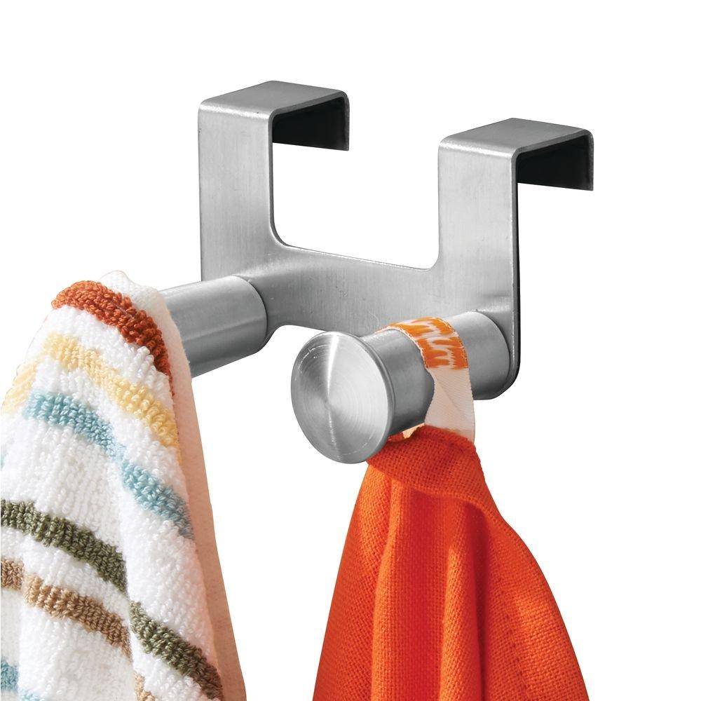 InterDesign Forma ganchos para trapos de cocina | Soporte para trapos y toallas de baño con doble gancho | Ganchos para colgar sobre la puerta | Acero ...