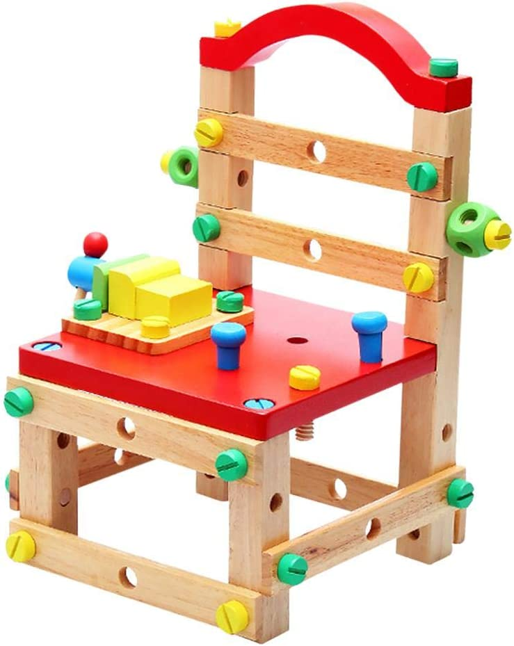 Coaste Children Diy Assembled Tool Chair,Screw Block Puzzle Chair,Educational Preschool Toys,Rubber Wood,Smooth Surface,Kids Gifts.