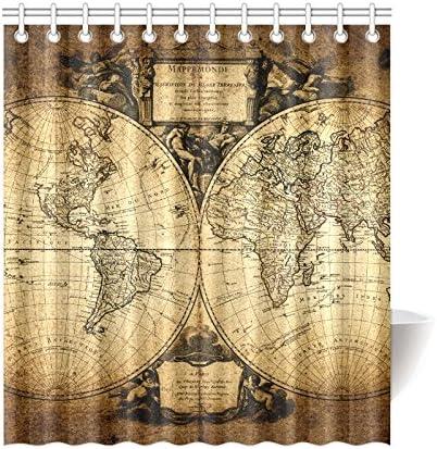 Vintage World Map Waterproof Fabric Shower Curtain Set Bathroom Decor w// Hooks