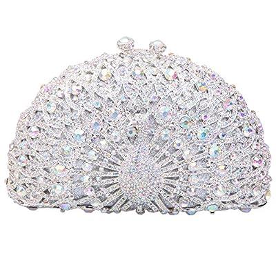 Fawziya Luxury Crystal Clutches For Women Peacock Clutch Evening Bag