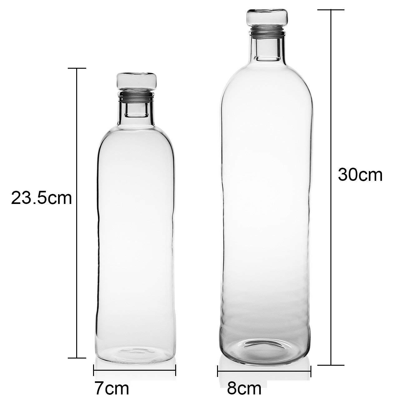 Evilandat - Botella de agua sin BPA, botella de vidrio, bebidas frías y calientes, para viajar, botella de cristal con funda 1100 ml/500ml: Amazon.es: ...