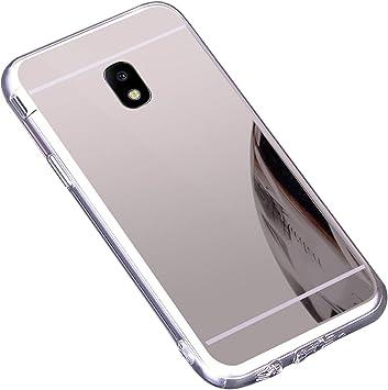 Funda Galaxy J3 2017 J330 ,Carcasa Protectora [Trasera] de [Tpu] para Móvil En [Con Efecto Espejo] Ultra-Delgado Caras Cubierta Caso Espejo Funda Case Cover para Samsung Galaxy J3 2017 J330 ,Plata: Amazon.es: