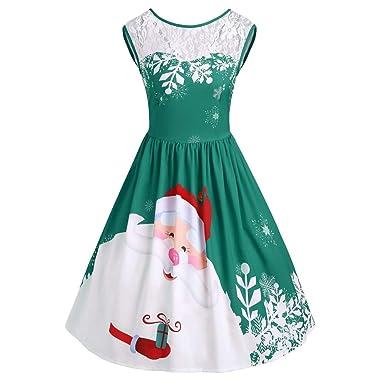 6c3a0fabe8f155 ODJOY-FAN Mode Frau O Ausschnitt Kleid, Weihnachtsmann Gedruckt Partykleid  Weihnachten Spitze Kleid Ärmellos