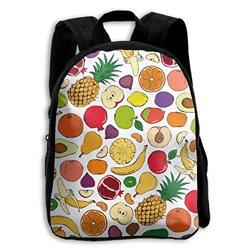 Colored Doodle Fruits Kid Boys Girls Toddler Pre School Backpack Bags Lightweight