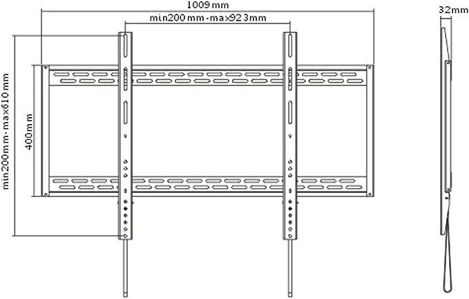 Low Profile Flat//Fixed Wall Mount Bracket for Panasonic TC-P65VT50 65 inch Plasma 3D HDTV TV//Television