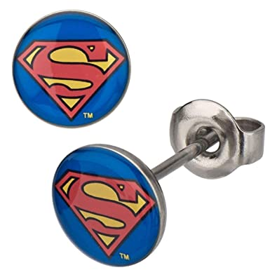 3b60331d1 Amazon.com: Stainless Steel Post with 8mm Superman Logo Stud ...