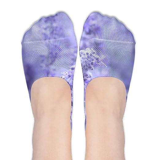 Purple Lavender Colored Flowers No Show Socks - Women's Girls Casual