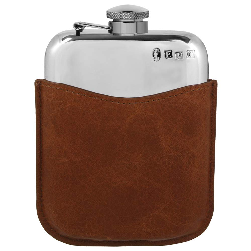 English Pewter Company 6oz Pewter Hip Flask With Luxury Brown Leather Pouch [PLF02]