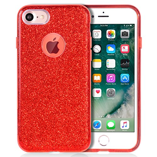 iPhone 7 Case, MATEPROX SHINY GLITTER CASE [Bling Crystal Clear][Extremely Sparkly], Slim Premium 3 Layer Hybrid, Protective Case for iPhone 7 4.7 Inch - Red Red Crystal Case
