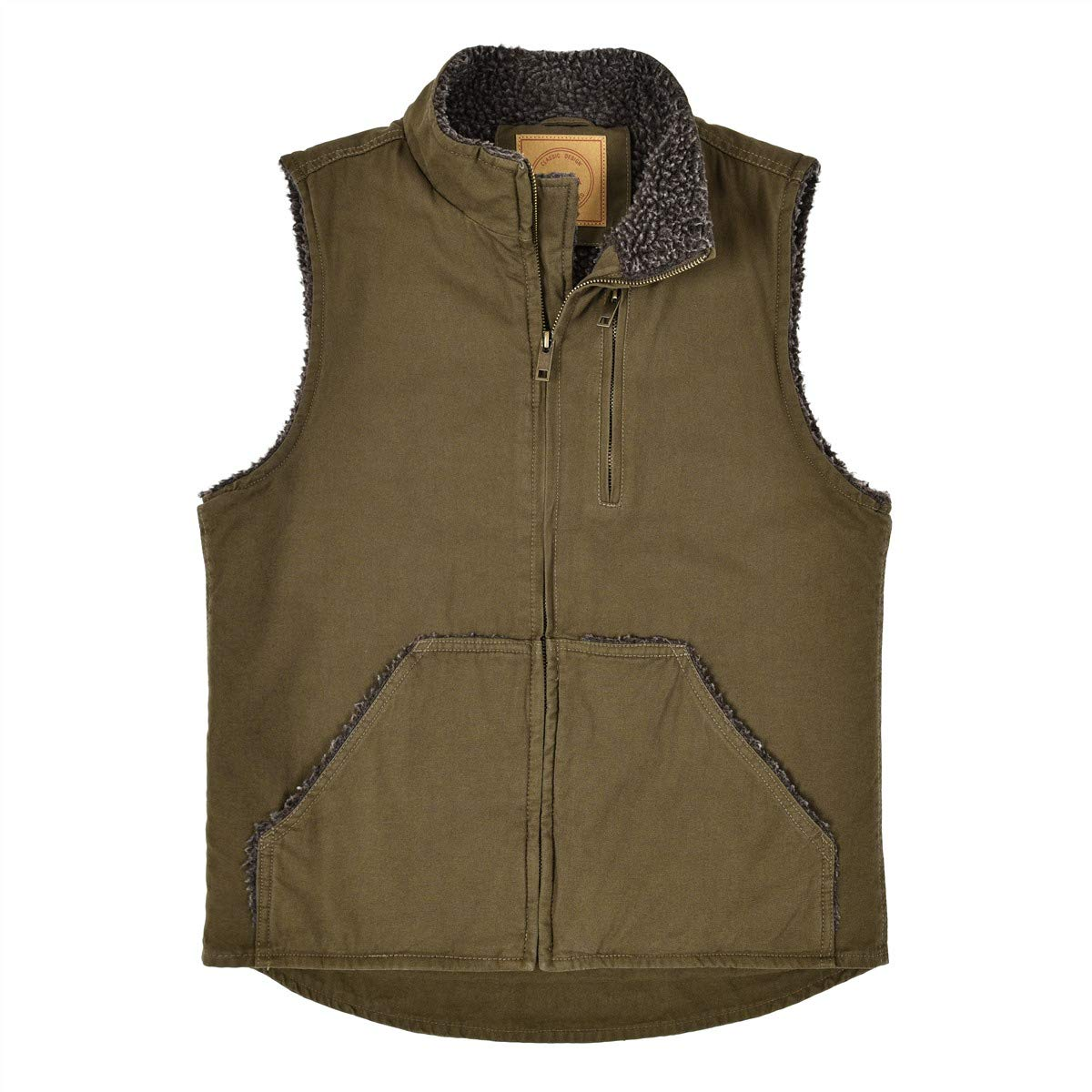 BOTVELA Men's Fleece Lined Vest Zip-up Casual Winter Warm Outwear Sleeveless Jacket (Brown, Large) by BOTVELA
