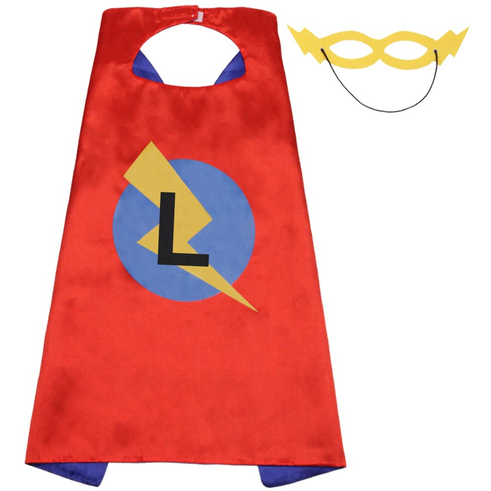 Superhero Capes for Kids,Boy Cape and Mask Set Red and Blue Double Color Satin Cape 27.5Inch by 27.5Inch Kid Size Cape(Cape-L)