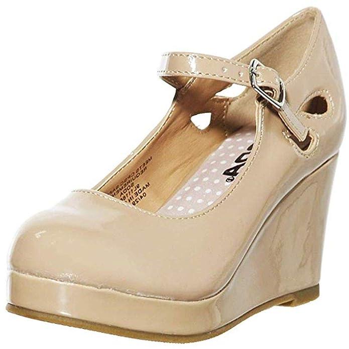 Amazon.com: Zapatillas de tacón de cuña baja para niñas Mary ...