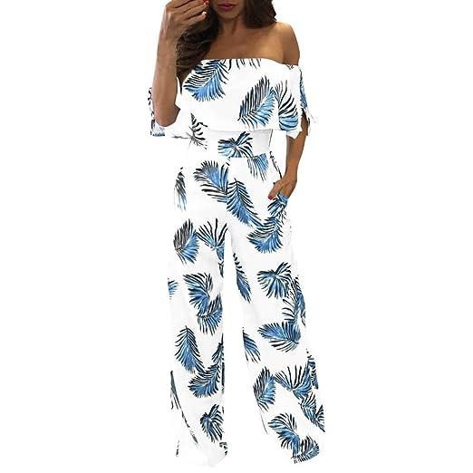 7f41dba41024 Orangeskycn Women Jumpsuits Elegant Wide Leg Off Shoulder Floral Leaf  Printed Sparkly Capelet Loose Pants Blue