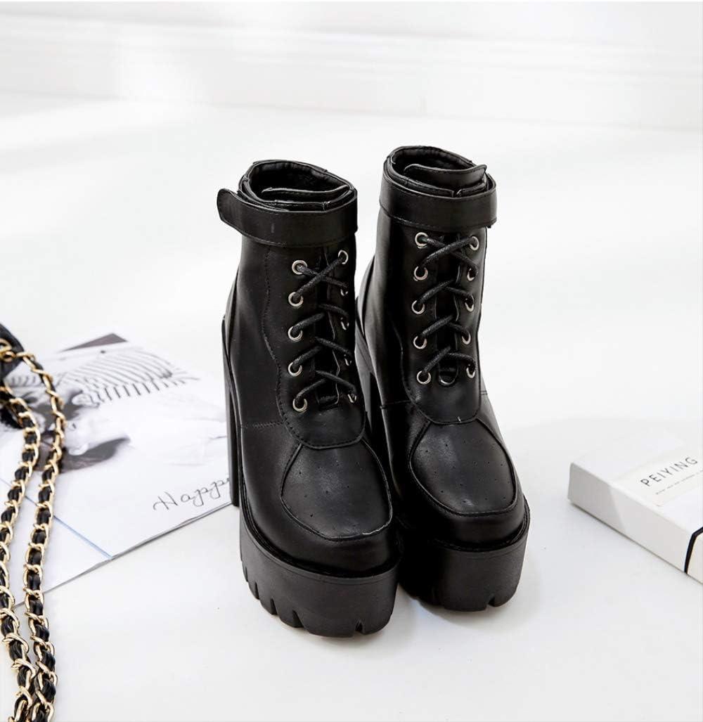 ACWTCHY Bottes pour Femmes Bottines à Lacets pour Femmes Bottes à Bout Rond Plateforme épaisse à Talons Hauts Lady Shoes black shoes
