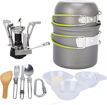 Outdoor Camping Hiking Cookware Picnic Cooking Bowl Fork Cutlery Pot Pan Set Kit