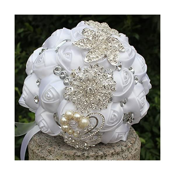 FYSTORE Wedding Bouquets for Bride Bouquet Crystal Wedding Rhinestone Brooch Bouquets Brides Hand Holding (White)