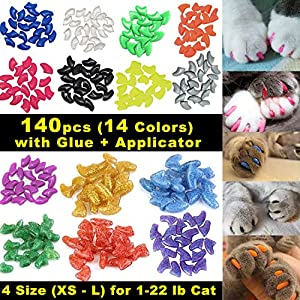 VICTHY 140pcs Cat Nail Caps, Colorful Pet Cat Soft Claws Nail Covers for Cat Claws with Glue and Applicators 1