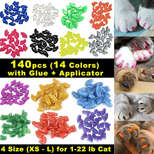 Soft Claws Nail Caps - VICTHY 140pcs Cat Nail Caps, Colorful Pet Cat Soft Claws Nail Covers for Cat Claws with Glue and Applicators Medium Size