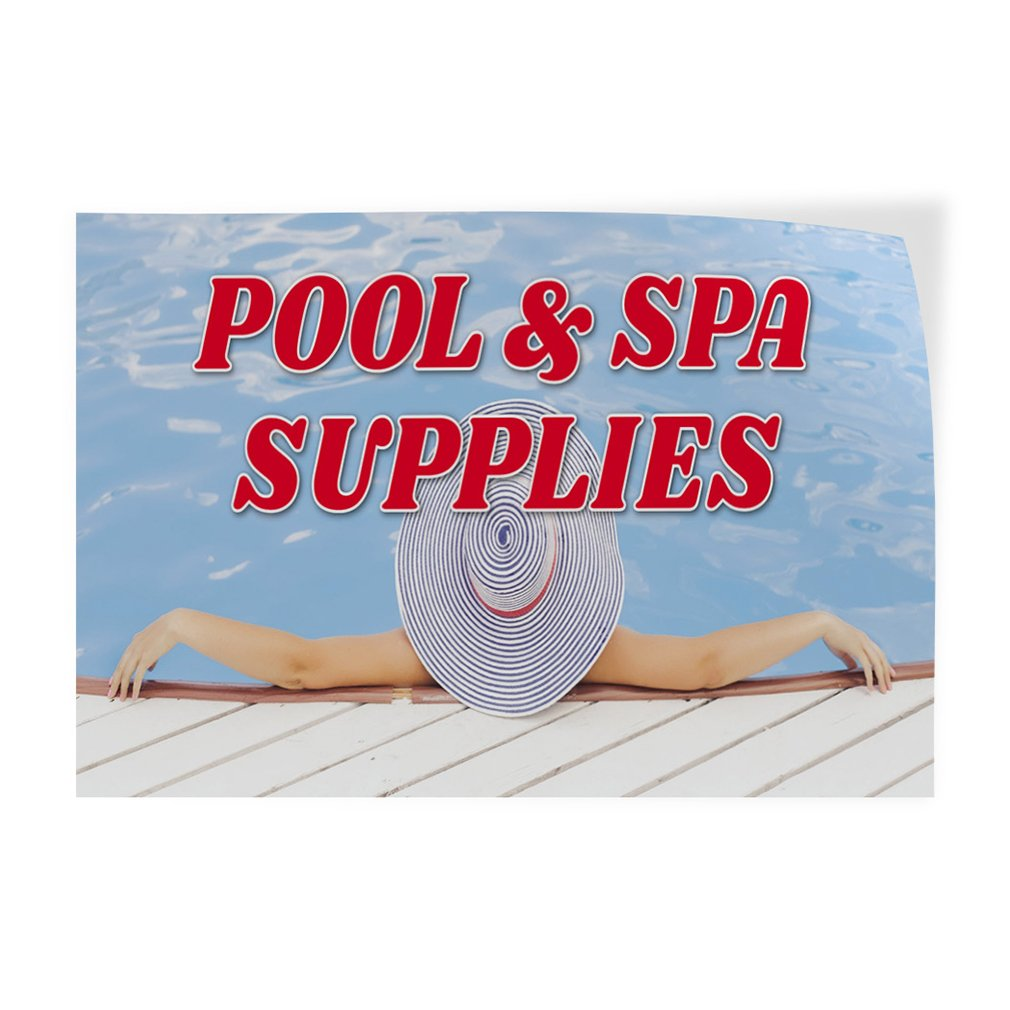 Decal Sticker Multiple Sizes Pool & Spa Supplies Business Pool Spa Supplies Outdoor Store Sign Blue - 28inx20in, Set of 2 by Sign Destination